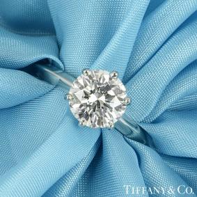 Tiffany & Co. Platinum Diamond Setting Ring 2.12ct G/VS1 XXX